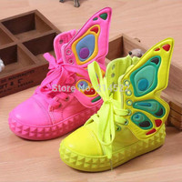 Retail new brand fashion children sneakers 2015 The new high-top canvas shoes for children in the wings shoes for boys and girls
