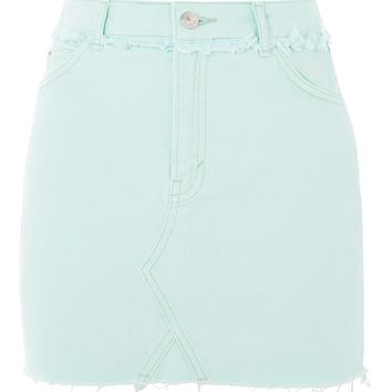 MOTO Mint Denim Mini Skirt - Denim - Clothing