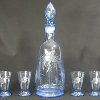 Czechoslovakia Bohemian Etched Blue Glass Decanter & 4 Glasses Vintage