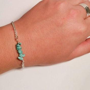 Turquoise bar bracelet turquoise chips genuine turquoise beads magnetic clasp real gemstone dainty statement bracelet mother's day grad gift