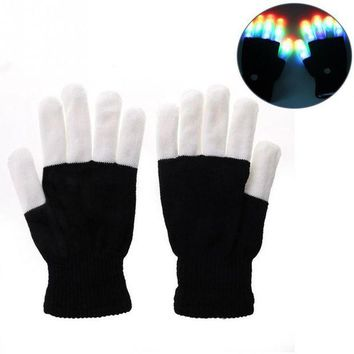 DCCKH6B Flashing Fingertip Light 7 Mode LED Gloves Mittens Costumes Rave Party Skating Riding Party Accessory