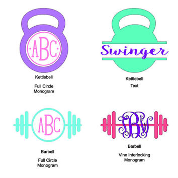 Personalized Kettlebell Barbell - Monogram - Vinyl Decal