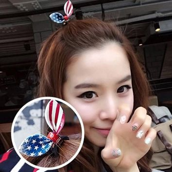 2017 New American flag Rabbit ear hairpin Elastic Hair Ties Bands Ponytail Holders Girls Hairband Headwear Hair Accessories