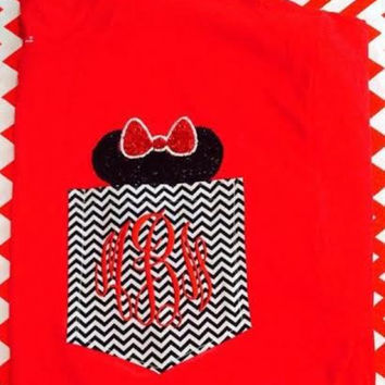 Minnie Mouse Monogrammed Adult Chevron Pocket Tee