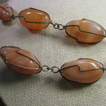 "Vintage Boho Hardstone Wrapped Necklace, 64"", Amber & Cream Agate, Rustic"