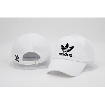 White Adidas Embroidered Cotton Baseball Outdoor Baseball Golf Sports Cap Hats