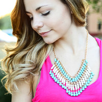 NO RESERVATIONS NECKLACE IN TEAL