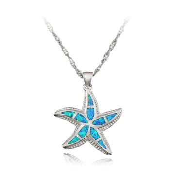 HAIMIS The Chain Nice Opal Starfish Pendant Blue White Green Brown Fire Opal Necklace Pendant 1 3/8'' OP195 Gift Box
