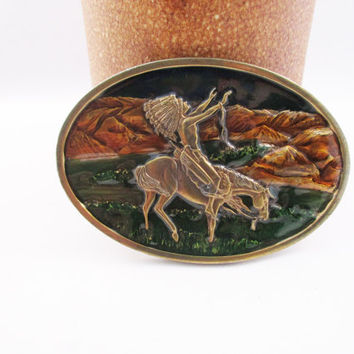 Native American Belt Buckle Indian Chief Joseph Nez Perces on Horse Praying. free US shipping  - FL