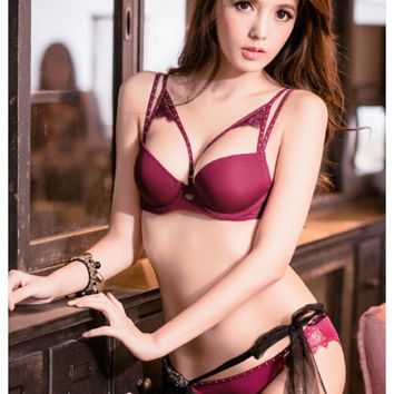 Lucie Racerback Push-Up Bra Set (Marsala)