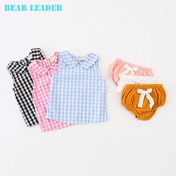 Baby Girls Boys Tops Tees New Fashion Multi color Plaid Lapel Sleeveless T-shirt Children Clothes
