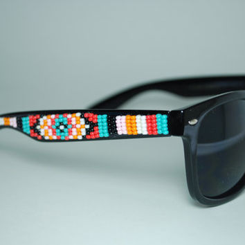 beaded sunglasses by brownbeadednet on Etsy