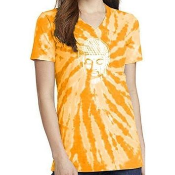 Yoga Clothing for You Womens Little Buddha Tie Dye V-neck Tee Shirt