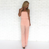 Shimmer & Shine Jumpsuit in Peach