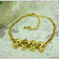 Free Shipping Gold Bracelet With Skull Designs--b119
