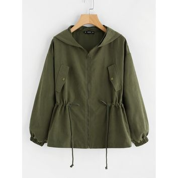 Camo Hooded Jacket -  Army Green