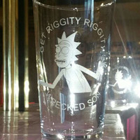 Rick and Morty inspired 'Riggity Riggity Wrecked Son' etched pint glass