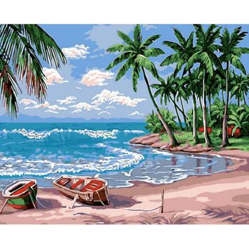 oil paint painting by numbers DIY picture beach drawing on canvas oil painting by hand coloring matter ndscape wall art k65