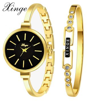 Xinge Top Brand 2017 New Luxury Women Gold Crystal Quartz Watches Ladies Simple Dress Wristwatches Set Business Clock XG609