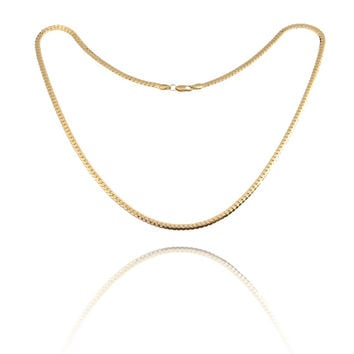 Fashion Simple Design Gold Plated Flat Curb Chain Necklace for Men Women  SN9