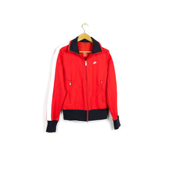 NIKE n98 track jacket - red + white + navy blue - womens small