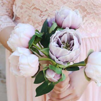 "Real Touch Pink Fake Bouquet with Lavender Peonies  - 14"" Tall"