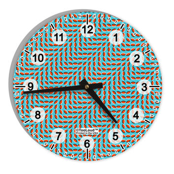 "Swimming Fish Optical Illusion 8"" Round Wall Clock with Numbers All Over Print"