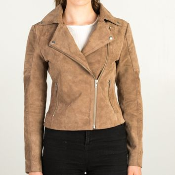 Brown Shiny Front Pocket Leather Jacket