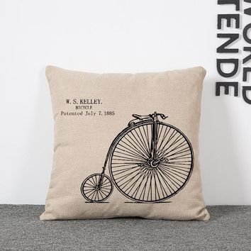 HD print dining chair cushion 45x45cm car seat cushions Home decorative pillow pillowcase Nordic style Vintage bicycles printing