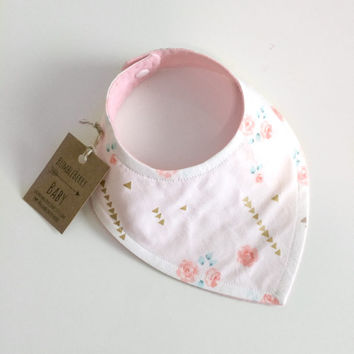 Sorbet Flower Gold Arrow Bandana Bib, Baby Bib