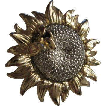 Vintage signed Bee on Sunflower Pin