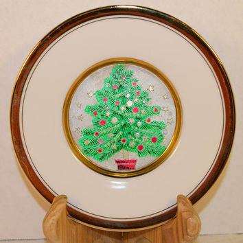 Chokin Christmas Tree Plate 24K Gold Vintage The Art of Chokin Decor Plate Christmas Decoration Christmas Collectible Holiday Collection
