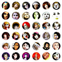 evil dolls mannequins face collage sheet 1 inch circles digital download printable images downloadable pendants diy jewelry making