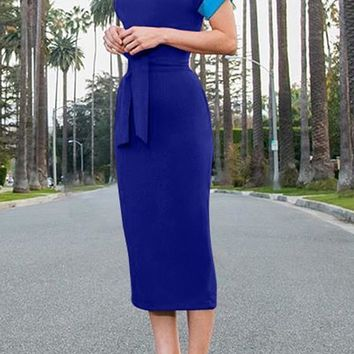 Blue Sashes Lace-up Work Up Bodycon Fromal Banquet Party Elegant Midi Dress