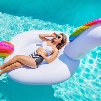 "Giant Inflatable Unicorn Pool Floats 2017 Newst 78"" Swimming Ring For Adult Children Water Holiday Party Pool Float Toys Unicorn"