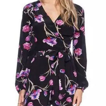 Black V-neck Flower Printed Long Sleeve Rompers