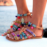Fashion Summer Women Bandage Stripe Colorful Flat Sandal