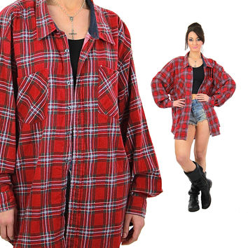 Red flannel shirt long sleeve button down Vintage 1990s grunge oversize slouchy unisex Hipster retro checkered 4X