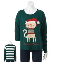 It's Our Time Kitty Ugly Christmas Sweater - Juniors
