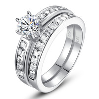 Sterling Silver Round and Princess Cut Cubic Zirconia Bridal Ring Set