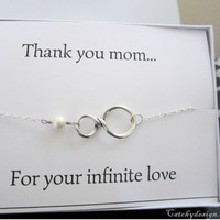 Mother day gift, Infinity bracelet with card,Mother's Infinity Bracelet & Card Set,Thank you Bracelet,8 sign bracelet,jewelry card set,knot