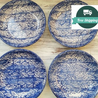 "Blue and White 8"" Pasta Bowls, Made in Italy, Hand Painted Foliage Ceramic Plates, Free US Shipping"