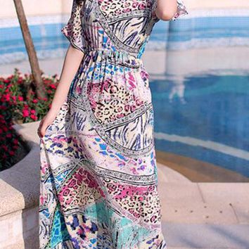 Casual Open Shoulder Elastic Waist Animal Printed Chiffon Skater Dress