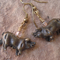 Antique Bronze Piggy Earrings,Dangle Earrings, For Her