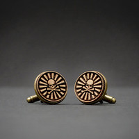 SKULL cufflinks - Wood  engraved cuff links
