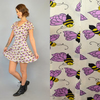 vtg 90's BUMBLE BEE flutter sleeve flared BABYDOLL mini dress, extra small-small