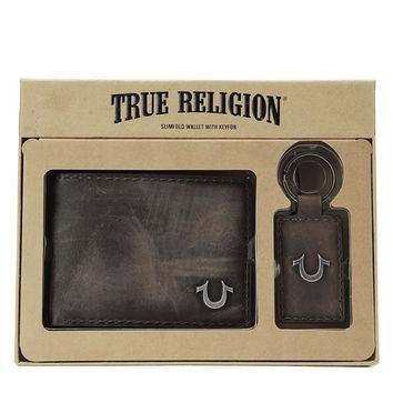 True Religion Wallet And Keychain Gift Set - Brown