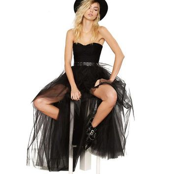 Sexy Mesh Tulle Bubble Skirt Fashion A Line High Low Skirts High Waist Party Club Wear Black Women Skirts