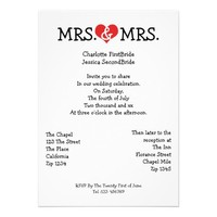 Mrs and Mrs Love Heart Lesbian Wedding Cards from Zazzle.com