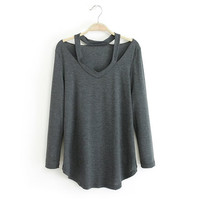 Cutout Long-Sleeve Asymmetrical Shirt
